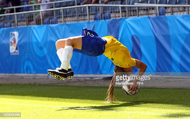 Leah of Brazil throws the ball during the 2010 FIFA Women's World Cup Group B match between Brazil and Sweden at the Bielefeld Arena on July 16 2010...