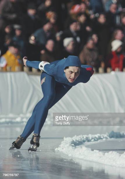 Leah Poulos of the United States skates in the Women's 1000 metres speed skating event during the XII Olympic Winter Games on 7 February 1976 at the...