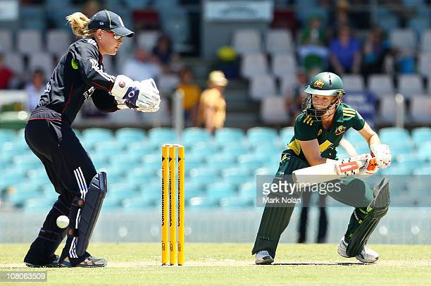 Leah Poulton of Australia bats during the third Twenty20 match between Australia and England at Manuka Oval on January 16 2011 in Canberra Australia