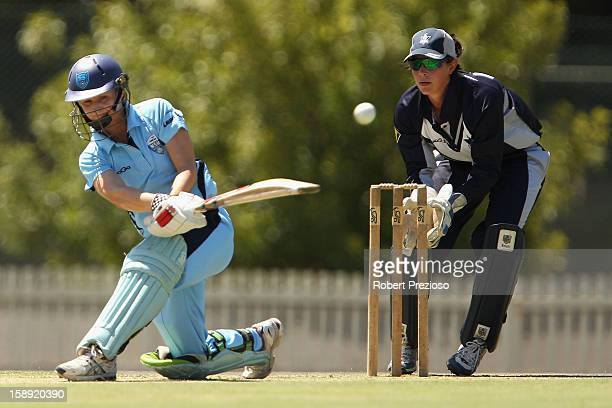 Leah Poulton of the Breakers plays a shot during the Women's Twenty20 match between the Victoria Spirit and the New South Wales Breakers at Junction...
