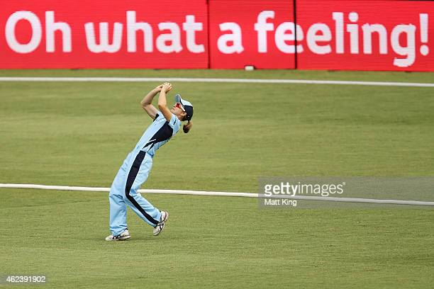 Leah Poulton of the Breakers takes a catch to dismiss Kelly Applebee of Victoria during the Women's Twenty20 final match between New South Wales and...