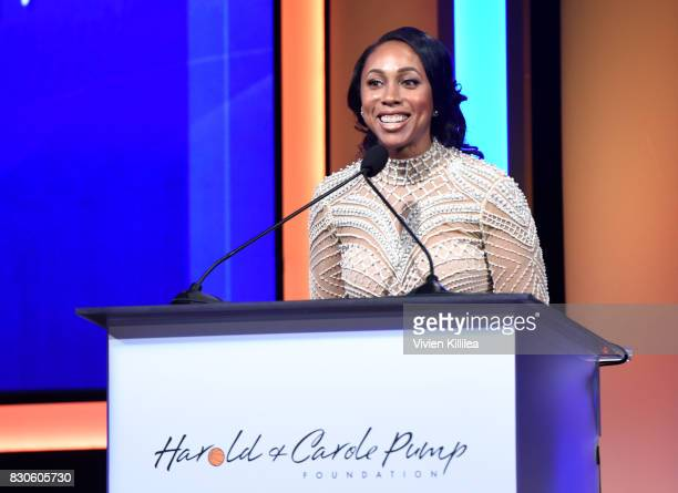 Leah Pump speaks onstage the 17th Annual Harold Carole Pump Foundation Gala at The Beverly Hilton Hotel on August 11 2017 in Beverly Hills California