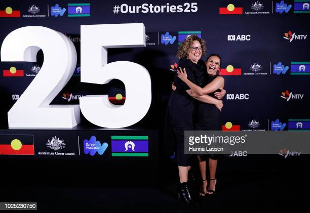Leah Purcell and Miranda Tapsell attend the 25th Anniversary of Screen Australia's Indigenous Department at Carriageworks on August 30 2018 in Sydney...