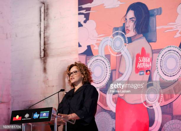 Leah Purcell speaks at a media call ahead of the 25th Anniversary of Screen Australia's Indigenous Department at Carriageworks on August 30 2018 in...