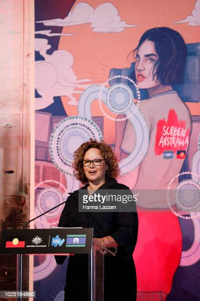 Leah Purcell speaks at a media call of the 25th Anniversary of Screen Australia's Indigenous Department at Carriageworks on August 30 2018 in Sydney...