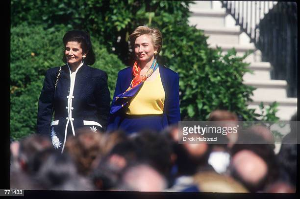 Leah Rabin and Hillary Clinton pose September 13, 1993 in Washington, DC. The peace accord signed in Oslo and sealed at the White House allowed...