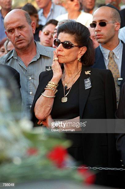 Leah Rabin, wife of assassinated Israeli Prime Minister Yitzhak Rabin, mourns at his grave November 4,1998 on the 3rd anniversary of his death in...