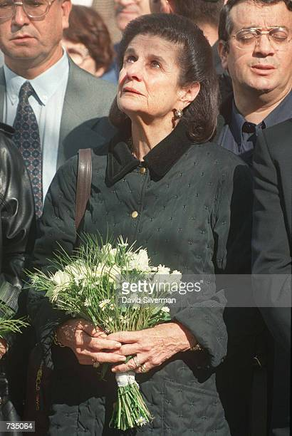 Leah Rabin, wife of assassinated Israeli Prime Minister Yitzhak Rabin, looks skywards and cries November 4,1997 during a visit to his grave on the...