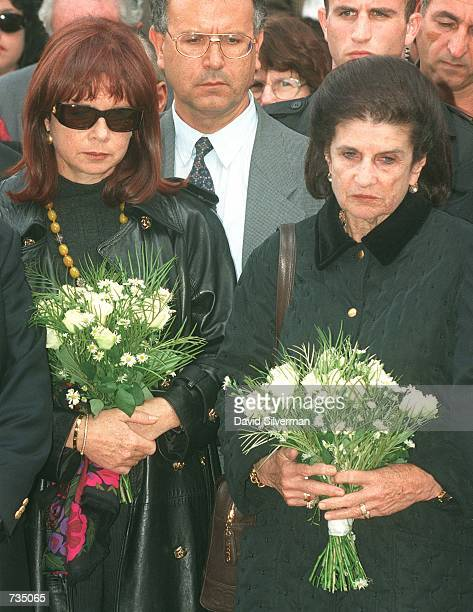 Leah Rabin, wife of assassinated Israeli Prime Minister Yitzhak Rabin, and their daughter Dalia Rabin-Filisof visit his grave November 4,1997 on the...