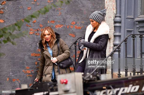 Leah Remini and Jennifer Lopez seen on location for 'Second Act' in Williamsburg on October 26 2017 in New York City