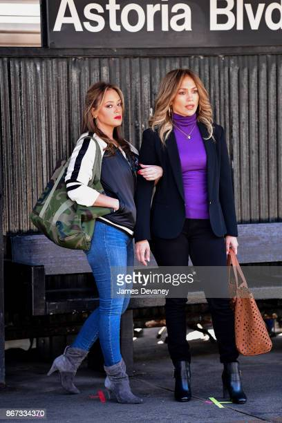 Leah Remini and Jennifer Lopez seen on location for 'Second Act' in Queens on October 27 2017 in New York City