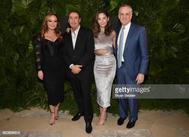 Leah Remini Olivia Munn and David Granville Smith attend the 2018 AE Upfront on March 15 2018 in New York City