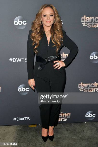 "Leah Remini poses for a photo prior to the ""Dancing With The Stars"" Season 28 show at CBS Televison City on October 07, 2019 in Los Angeles,..."