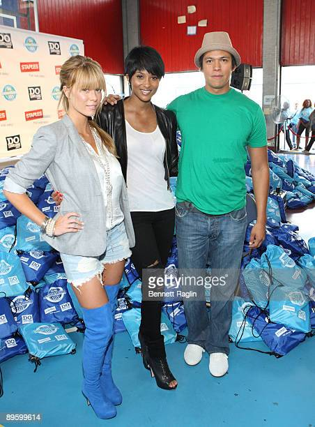 Leah Renee Ciara and Chaske Spencer help assemble bags of supplies for the 2nd Annual Staples / Do Something 101 National School Supply Drive at the...