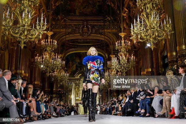 Leah Rodl walks the runway during the Balmain show as part of the Paris Fashion Week Womenswear Spring/Summer 2018 on September 28 2017 in Paris...
