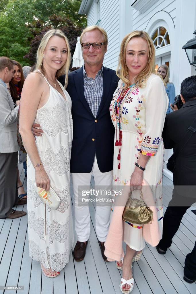 Leah Rumbough, Christopher Bickford and Patty Raynes attend Katrina and Don Peebles Host NY Mission Society Summer Cocktails at Private Residence on July 7, 2017 in Bridgehampton, New York.