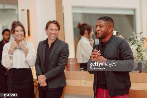 Leah Silberman, Jonathan Baker and Andre Gains attend The One And Only, Dick Gregory, Album Release Event on September 16, 2021 in Burbank,...