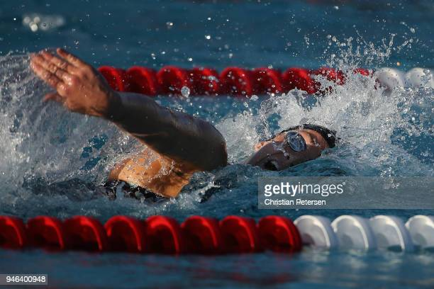 Leah Smith competes in the Women's 400m Freestyle A final during day three of the TYR Pro Swim Series at the Skyline Aquatic Center on April 14 2018...