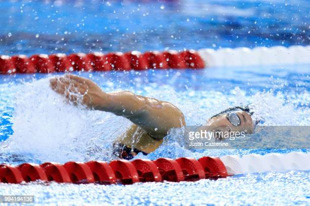 Leah Smith competes in the women's 800m freestyle final at the 2018 TYR Pro Series on July 8 2018 in Columbus Ohio