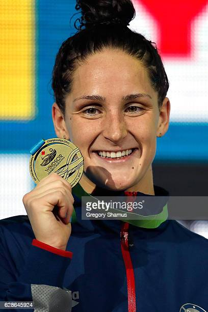 Leah Smith of the United States celebrates her gold medal in the 800m Freestyle final on day three of the 13th FINA World Swimming Championships at...