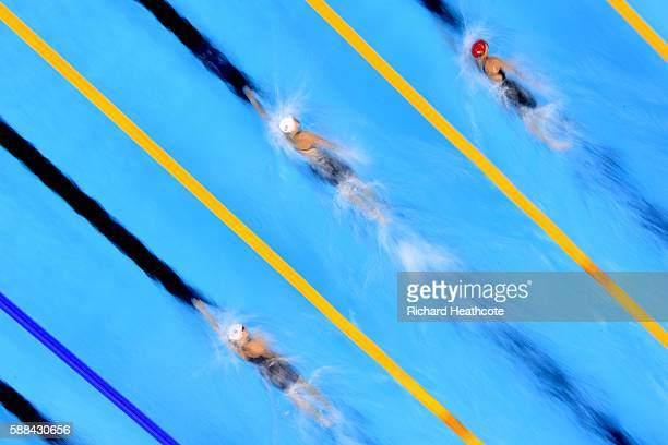 Leah Smith of the United States Katie Ledecky of the United States and Jazz Carlin of Great Britain compete in the Women's 800m Freestyle heat on Day...