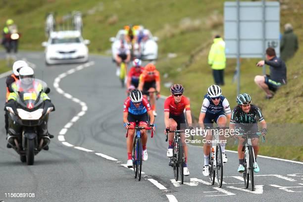 Leah Thomas of The United States and Team Bigla Pro Cycling / Ellen van Dijk of The Netherlands and Team Trek Segafredo / Hannah Barnes of United...