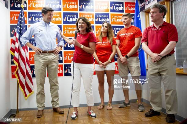 Leah Vukmir a Republican Senate candidate from Wisconsin second left thanks US House Speaker Paul Ryan a Republican from Wisconsin left during a...