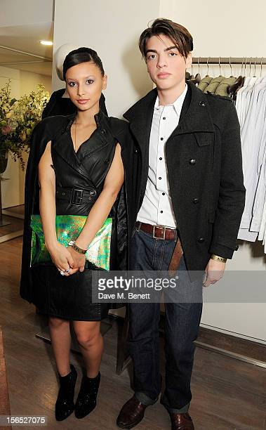 Leah Weller and Sascha Bailey attend a drinks reception hosted by Leon Max to celebrate the launch of his first London store in Westbourne Grove on...