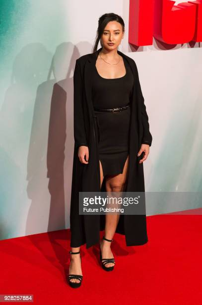 Leah Weller arrives for the European film premiere of 'Tomb Raider' at Vue West End cinema in London's Leicester Square March 6 2018 in London United...
