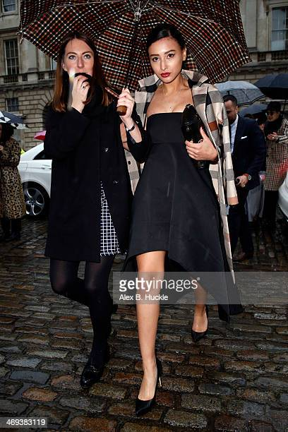 Leah Weller is pictured arriving at Somerset House during London Fashion Week on February 14 2014 in London England