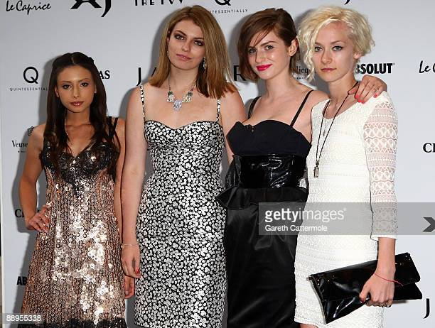 Leah Weller Lola and Tali Lennox arrive at the launch of the new Jaguar XJ at the Saatchi Gallery on July 9 2009 in London England