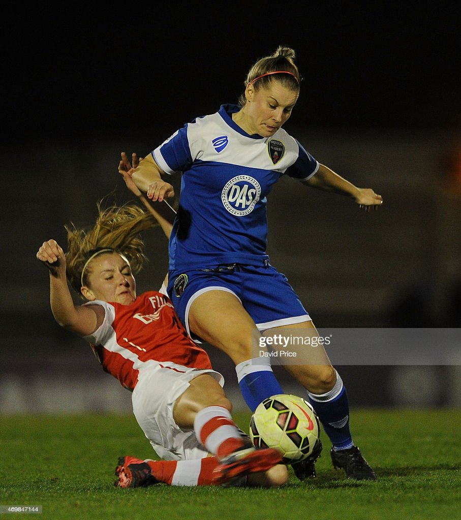 Leah Willaimson of Arsenal tackles Nikki Watts of Bristol during the WSL match between Arsenal Ladies and Bristol Academy at Meadow Park on April 15, 2015 in Borehamwood, England.