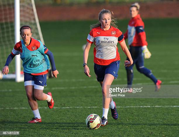 Leah Williamson and Evie Clarke of the Arsenal Ladies during their training session at London Colney on March 24 2015 in St Albans England