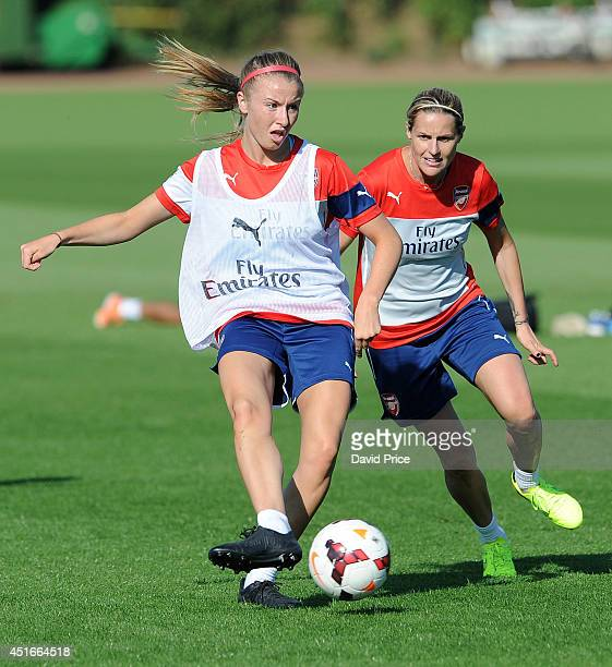 Leah Williamson and Kelly Smith of Arsenal Ladies during their training session at London Colney on July 3 2014 in St Albans England
