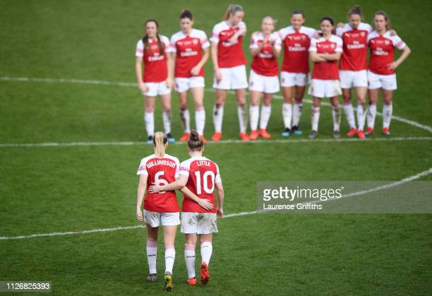 Leah Williamson and Kim Little of Arsenal look dejected following the FA Women's Continental League Cup Final between Arsenal and Manchester City...