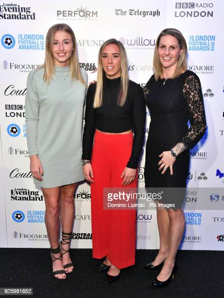 Leah Williamson Jordan Nobbs and Kelly Smith arriving for the 2018 London Football Awards at Battersea Evolution London