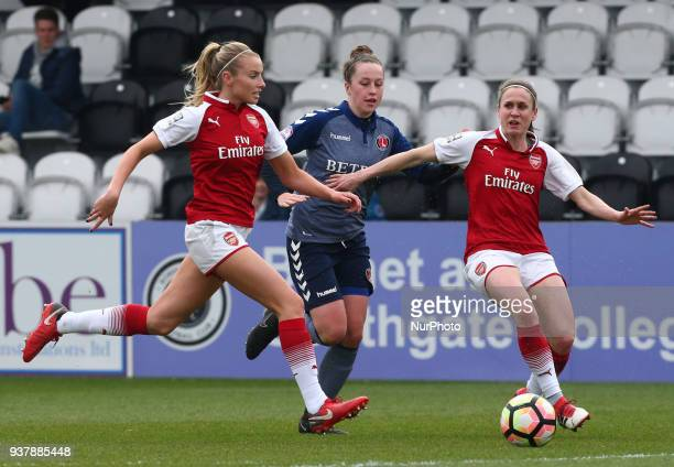 LR Leah Williamson of Arsenal and Nicole Pepper of Charlton Athletic Women during SSE Women's FA Cup quarter_final match between Arsenal against...