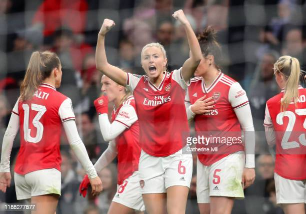Leah Williamson of Arsenal celebrates during the Barclays FA Women's Super League match between Tottenham Hotspur and Arsenal at Tottenham Hotspur...