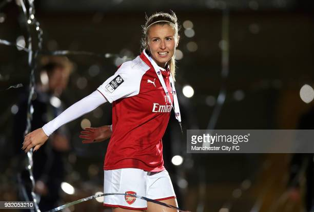 Leah Williamson of Arsenal celebrates winning the WSL Continental Cup Final between Arsenal Women v Manchester City Ladies at Adams Park on March 14...