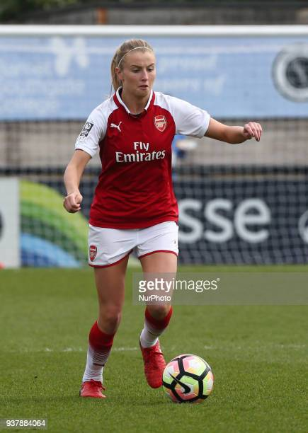 Leah Williamson of Arsenal during SSE Women's FA Cup quarter_final match between Arsenal against Charlton Athletic Women at Meadow Park Borehamwood...