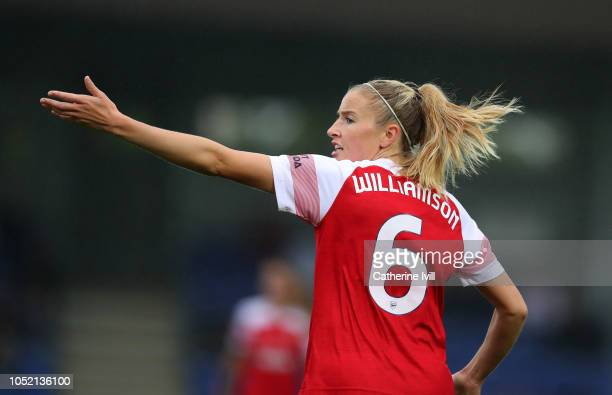 Leah Williamson of Arsenal during the FA WSL match between Chelsea Women and Arsenal at The Cherry Red Records Stadium on October 14 2018 in Kingston...