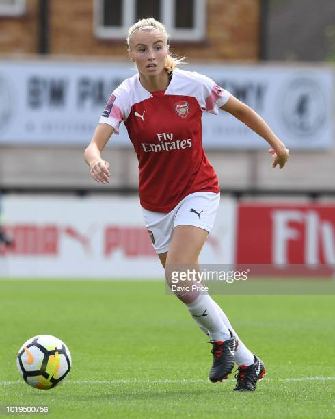 Leah Williamson of Arsenal during the match between Arsenal Women and West Ham United Women at Meadow Park on August 19 2018 in Borehamwood England