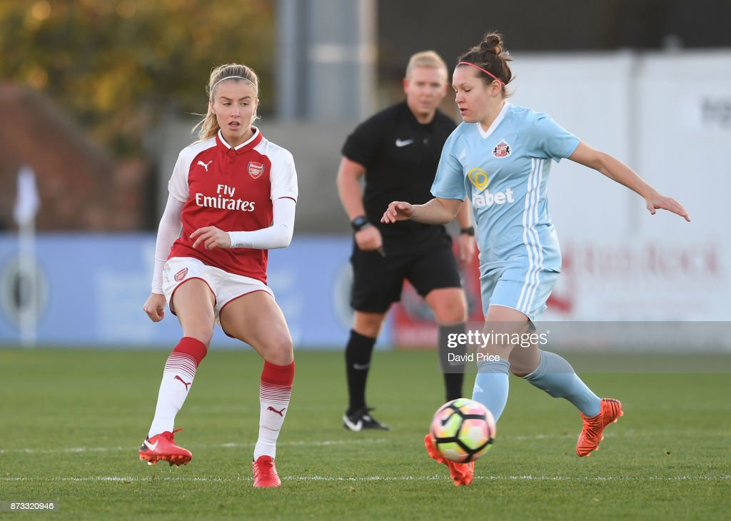 Leah Williamson of Arsenal during the WSL match between Arsenal Women and Sunderland on November 12, 2017 in Borehamwood, United Kingdom.