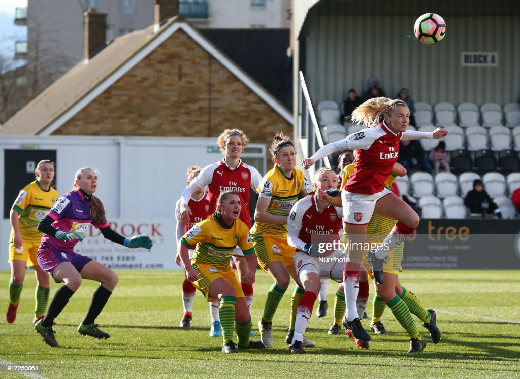 Leah Williamson of Arsenal during Women's Super League 1match between Arsenal against Yeovil Town Ladies at Meadow Park Boreham wood FC on 10 Feb 2018