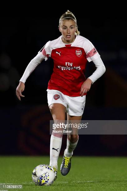 Leah Williamson of Arsenal in ac during the FA WSL Cup match between Arsenal Women and Manchester United Women at Meadow Park on February 07 2019 in...