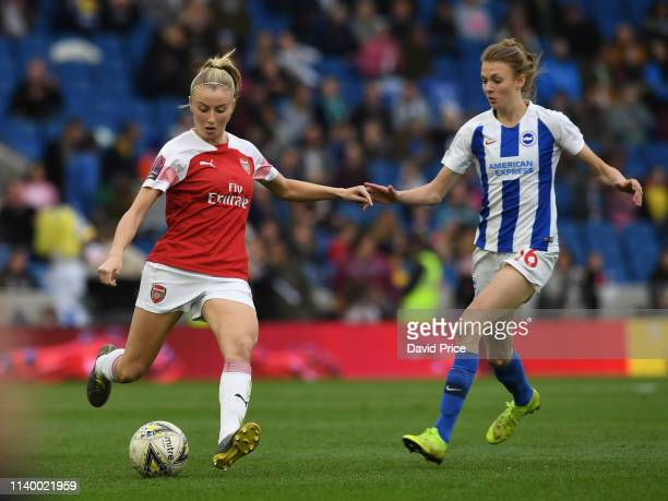 Leah Williamson of Arsenal is closed down by Ellie Brazil of Brighton during the match between Brighton & Hove Albion Women and Arsenal Women at Amex...