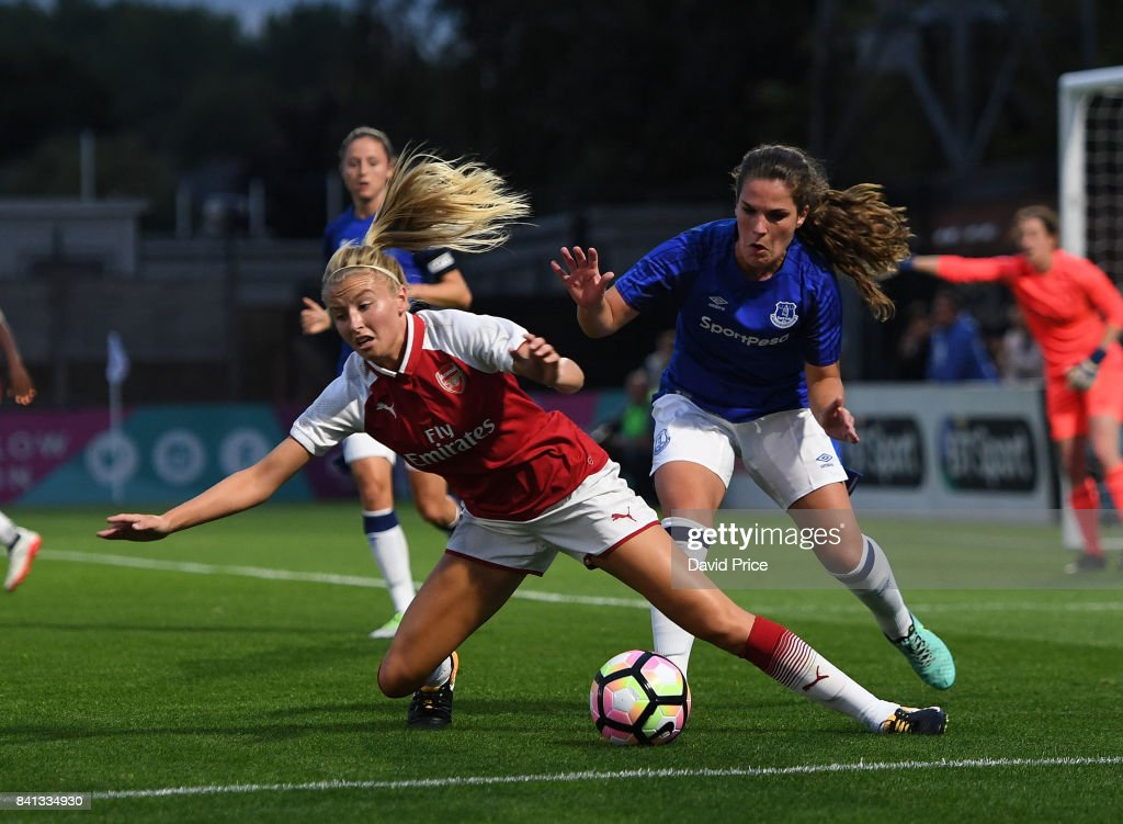 Leah Williamson of Arsenal is fouled by Siri Worm of Everton during the match between Arsenal Women and Everton Ladies at Meadow Park on August 31, 2017 in Borehamwood, England.