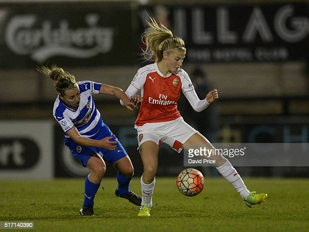 Leah Williamson of Arsenal Ladies takes on Rebecca Jane of Reading during the match between Arsenal Ladies and Reading FC Women on March 23 2016 in...