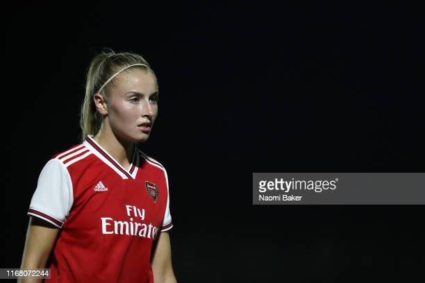 Leah Williamson of Arsenal looks on during the Pre Season Friendly match between Arsenal and Barcelona at Meadow Park on August 14 2019 in...