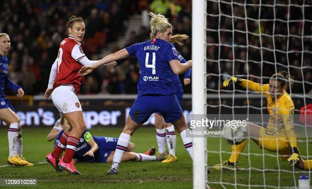 Leah Williamson of Arsenal scores her team's first goal during the FA Women's Continental League Cup Final Chelsea FC Women and Arsenal FC Women at...